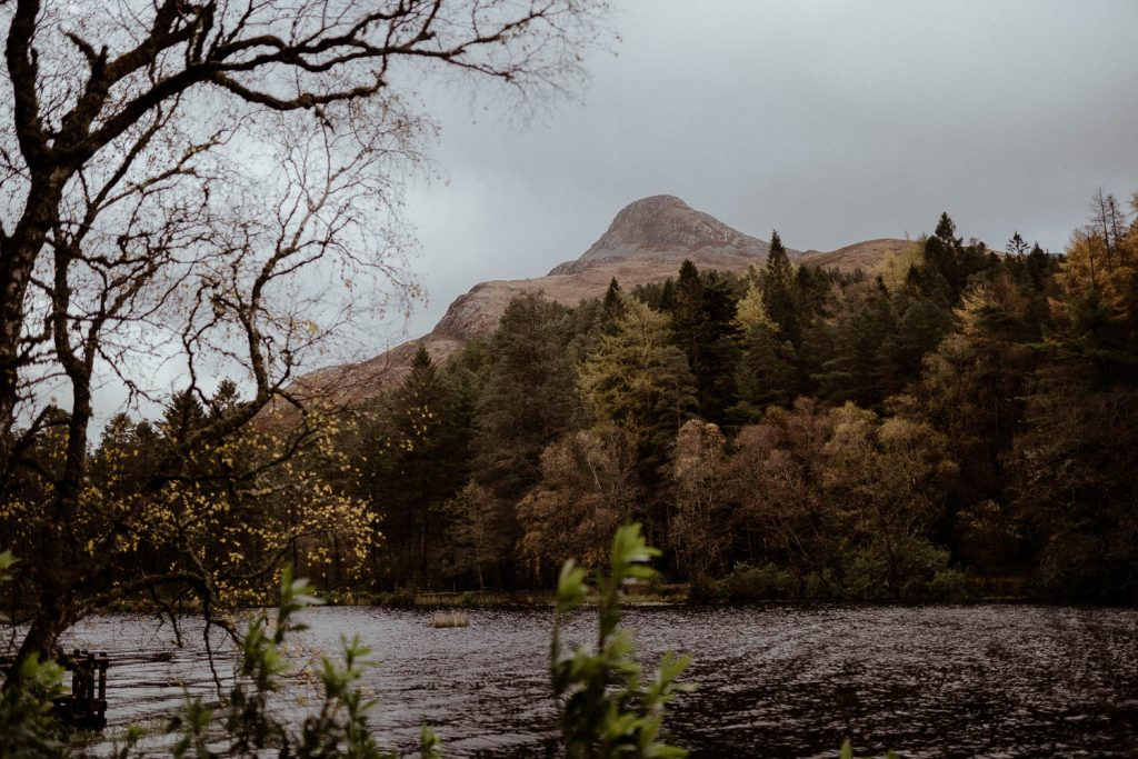 Glencoe Elopement Lochan view of mountain