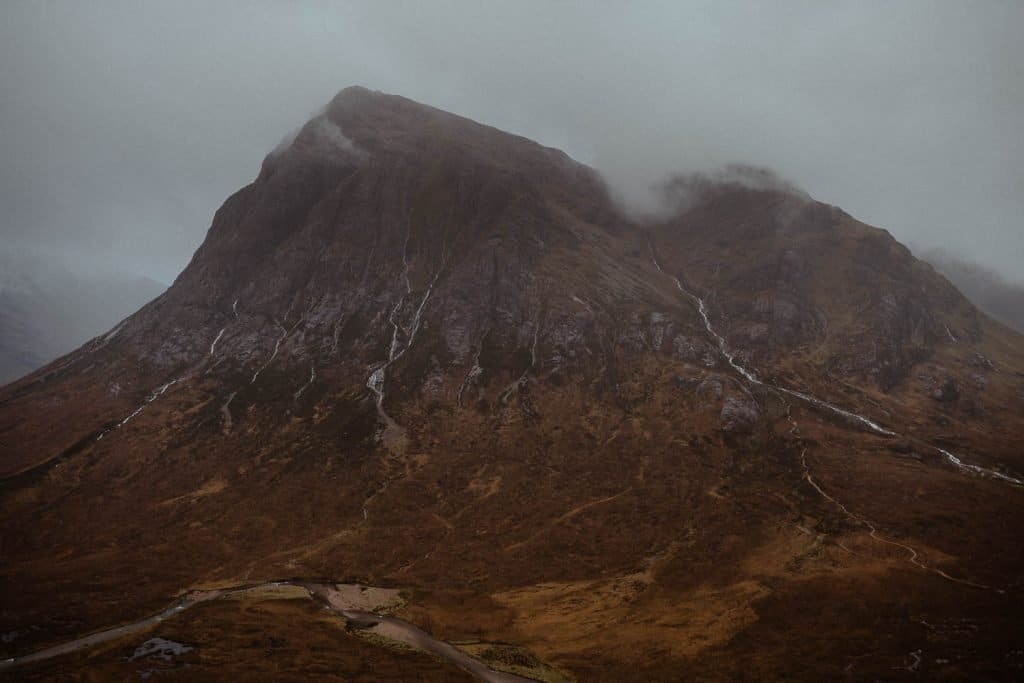Buachaille Etive Mòr mountain view in the valley of Glencoe